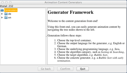 In the window, first click on the Generator entry to open the navigation tree